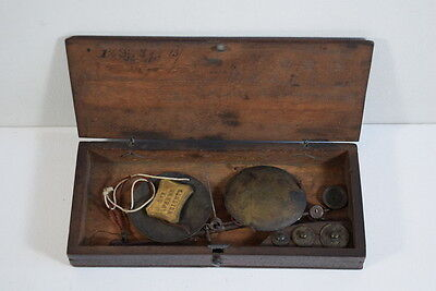 Small Antique Wood Cased Scales And Weights. Pocket Sized.