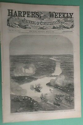 Harper's Weekly 5/31/1862 City of Richmond, VA /Balloon View of attack The James