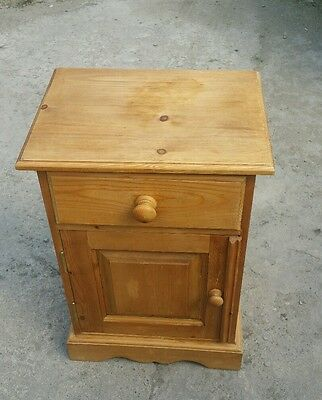 Solid pine bedside cabinet cupboard draw
