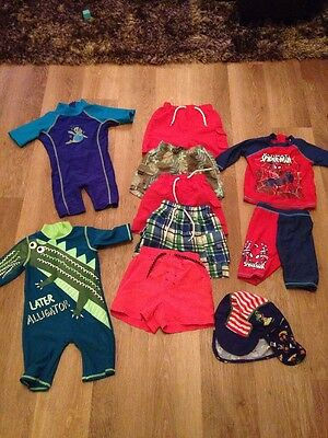 Large Bundle Baby Boy Swimming Shorts UV Hat & UV All In Ones 9 Items 12-24 Mths