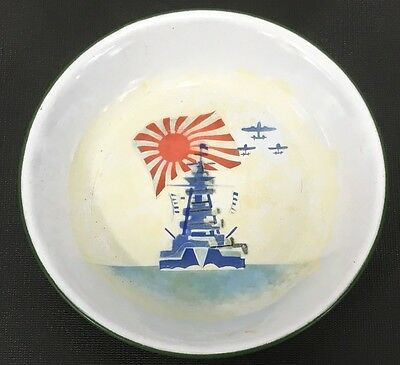 WWII Japanese Imperial Navy Commemorative Porcelain On Metal Bowl