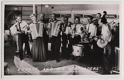 """PHOTO CARD - """"Eugene & His Serenaders"""" music band octet accordion, Hastings 1947"""
