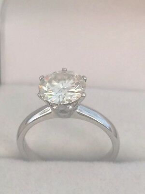 Charles & Colvard-Moissanite Diamond-2ct-8mm- 18ct -Solitaire Ring- ��