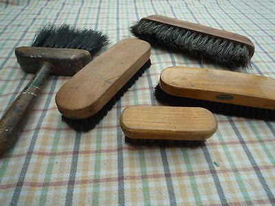 Collection Of Vintage Brushes Wood And Pure Bristle