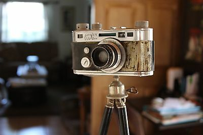 Vintage Perfex Fifty Five Camera with Vintage Adjustable Brass Tripod