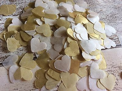 1000 vintage romantic tissue paper heart confetti Cream and Gold wedding