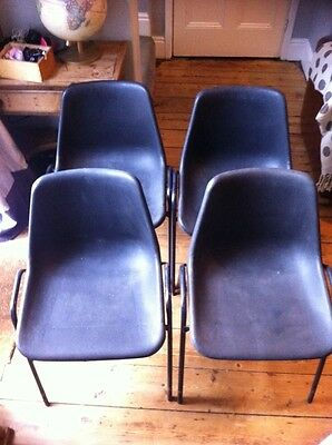 ~Vintage ~Retro ~Stacking ~4 X School Chairs ~Adult~ Robin Day Hille Design
