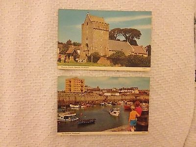 2 Postcards of old Porthcawl in South Wales the harbour and Newton Church