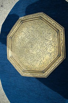 Antique Islamic Brass Exagonal Charger Platter With Gods Idols Etching Religious