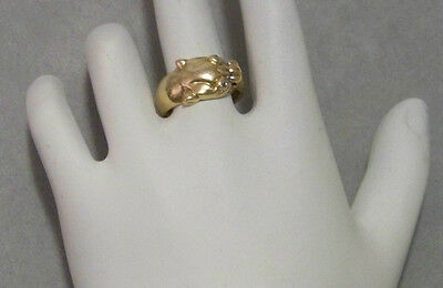 Estate Find 14K Gold Panther Pinky Ring with Diamond Chip Eyes
