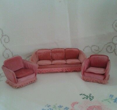 Vintage Lundby dolls house sofa & chairs