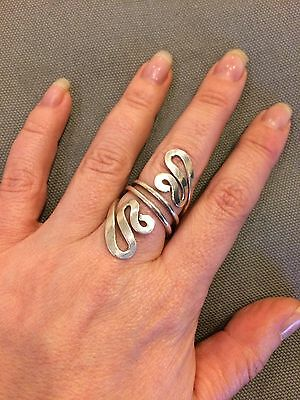 Sterling Silver Long Swirl Statement Ring Size P