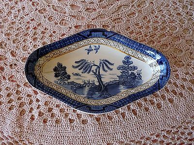 BOOTHS England REAL OLD WILLOW c1921 CRANBERRY DISH  RELISH TRAY Gold Trim 9072