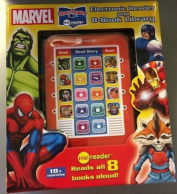 NEW Marvel Electronic Me Reader & 8 Books Library Avengers Guardians Spider-Man