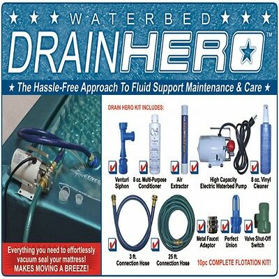 Waterbed Electric Pump With Fill And Drain Kit / Hose / Conditioner / Patch Kit