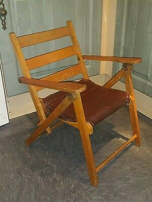 Vintage Childs Tots Wood Folding Chair Retro Leather Covered