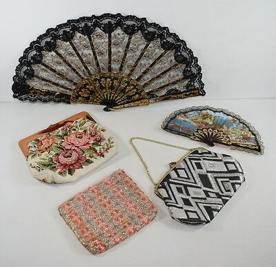 Three Clutch Bags And Two Maltese Lace And Plastic Fans.