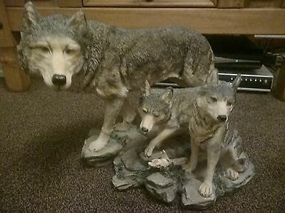 Large Wolf Resin Ornament. Mother Wolf with Twin Cubs