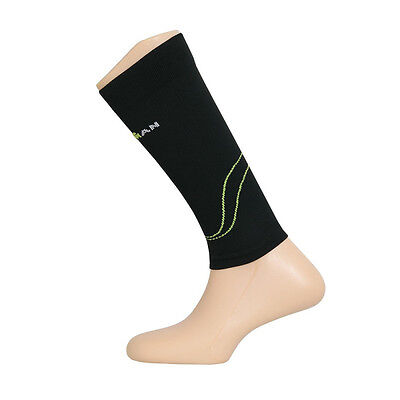 Official Ironman Compression Calf Guard Sleeve - BLK/GRN S (UK 2.5 to 5)