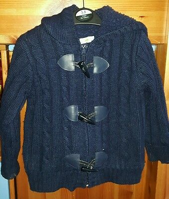 Baby boy/toddler knitted wool hooded cardigan/hoodie size 18-24 months