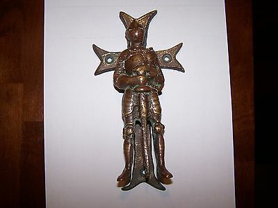 Very Rare Antique Bronze Brass Knight Door Knocker Soldier Sword Armour 8""