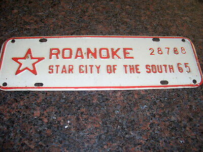 1965 Roanoke-Star City Of The South License Strip!