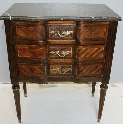 19TH Great  French Louis XV Walnut Inlaid Commode night stand with marble top