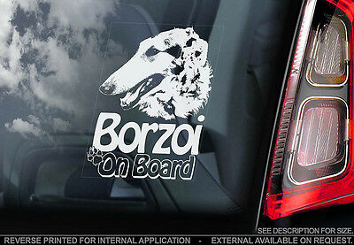 Borzoi - Car Window Sticker - Dog Sign -V01