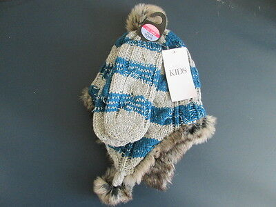 Girls blue and grey knit fur lined helmet and mitten set age 10-14 from M&S
