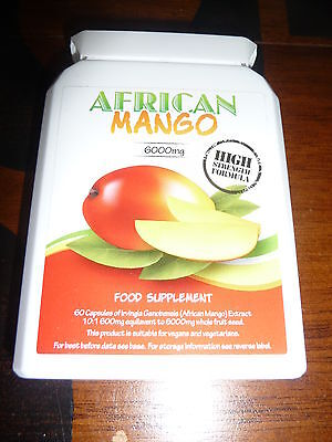 100% Pure African Mango, High Strength, 6000 mg 60 Capsules, RRP: $75!