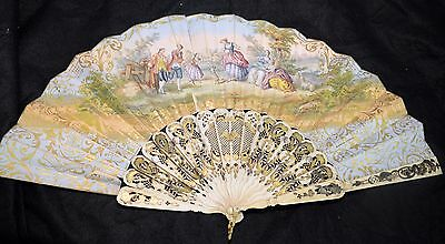 Hand painted antique fan circa 1780 - European, hand carved with gold leaf.