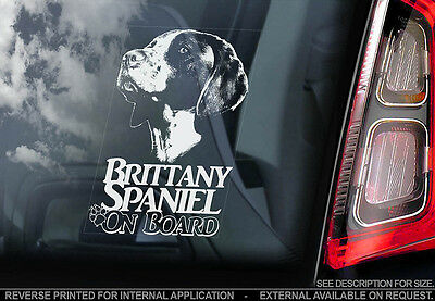 Brittany Spaniel - Car Window Sticker - Dog Sign -V01