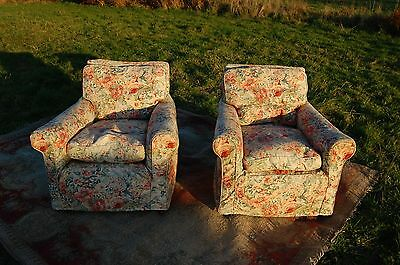 2 x interwar armchairs, original silk with 1950's loose, floral, covers on top