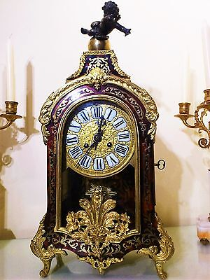 Antique Large French Red Shell & Boulle Inlaid Ormolu Bracket / Mantel Clock