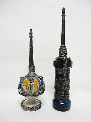 2 ROSE WATER Perfume BOTTLE SPRINKLERS (Mid Century MOROCCAN or Middle Eastern)