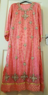 Coral silk wedding kameez anarkali Pakistani Asian Indian suit dress party