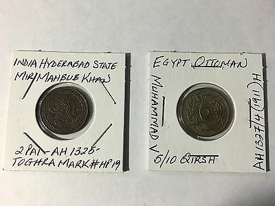 Egypt Ottoman 5/10 Qirsh and India 2 Pai coins