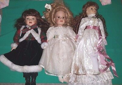 Lot Of 3 Porcelain Dolls Need Some Repairs - Samantha Medici, Collector's Choice