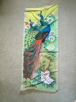 Vintage 'Japanese Silk' Textile Painting Picture Two Pheasants