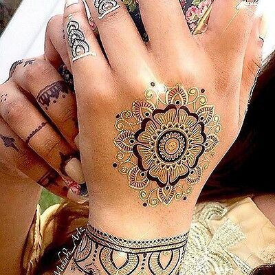 Mandala Henna Tattoos in Black & Gold - Perfect festival or party accessory