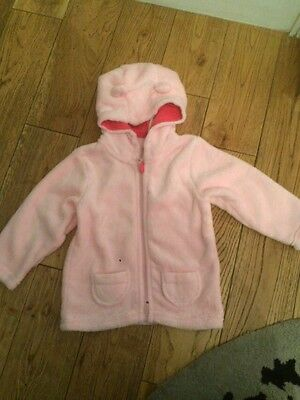 A Gorgeous Pink FleeceJacket With Ears On The Hood 12-24 Months.