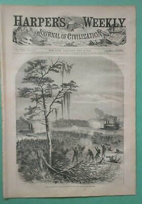 Harper's Weekly 5/14/1864  Attack on the Red River   Louisiana