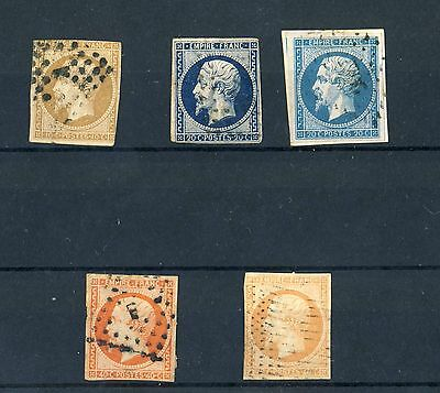Selection of 1853 France used stamps impf