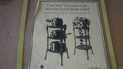 Cast iron Victorian style 3 tier black decorative pan / plant display stand, NEW