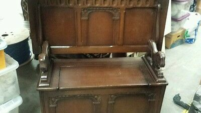 Antique Dark Oak   Monks Bench That Turns Into A Table With Storage In Seat