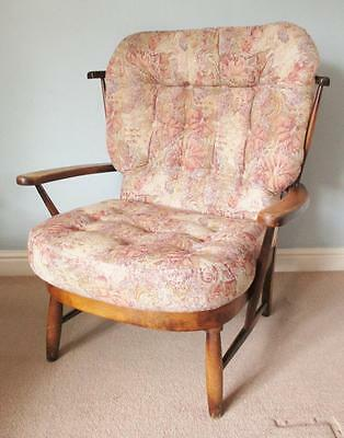 Vintage Ercol Style Wooden Armchair Wingback Retro Mid Century