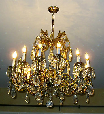 Vintage Very Large French Provincial Brass & Crystal CHANDELIER w 122+ Crystals