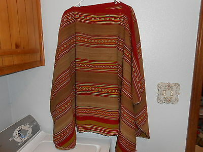 Vintage Hand Woven Vegetable Dyes Peruvian Poncho