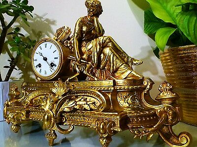 French Bronze Ormolu Figural Mantel Clock By Japy Freres