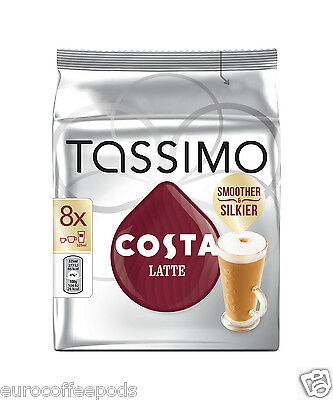Tassimo Costa Latte Coffee 2 Packs 32 T- Disc 16 Servings